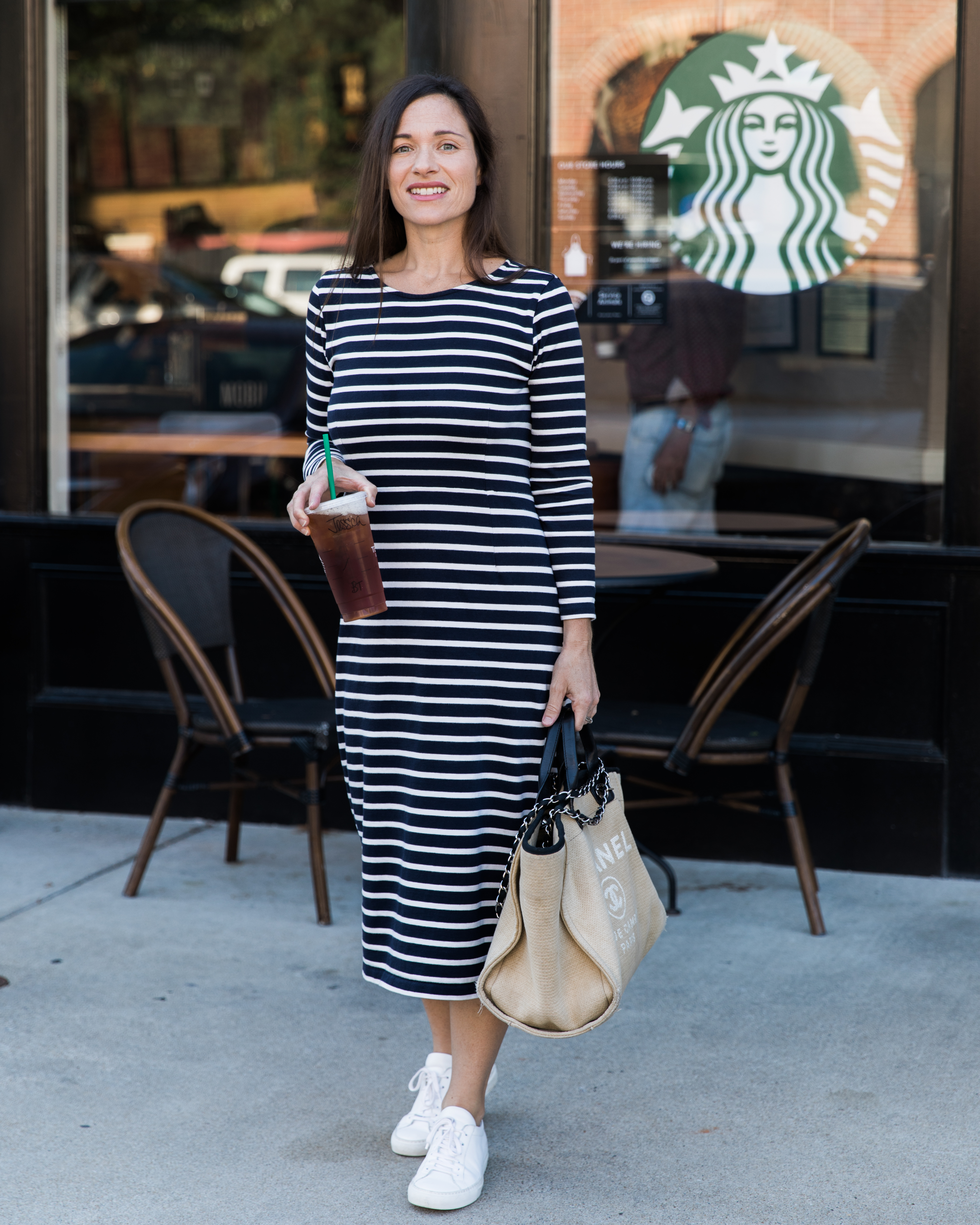 Athleisure j.crew midi dress style at starbucks