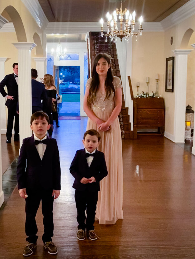Bridesmaid and Her Ring Bearer Brothers